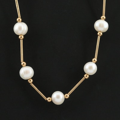 14K Yellow Gold Cultured Pearl Station Necklace