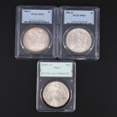 Three PCGS Graded MS63 Silver Morgan Dollars Including 1880-S and 1881-S