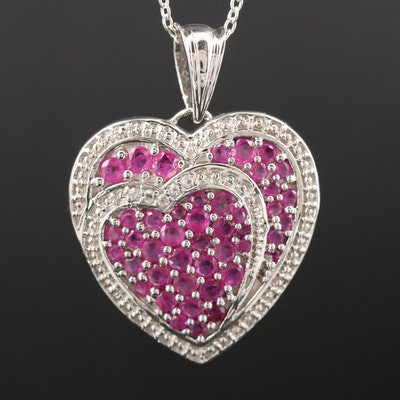Sterling Silver Two-Hearted Ruby and White Topaz Pendant Necklace