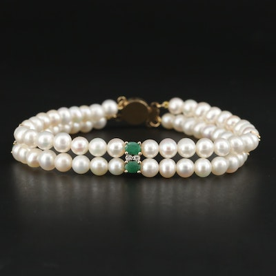 14K Yellow Gold Cultured Pearl, Emerald and Diamond Bracelet