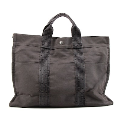 Hermès Gray and Black Fourre-Tout Herline Canvas Tote Bag
