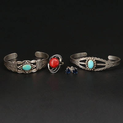 Sterling Silver Rings, Bracelets and Earrings With Turquoise and Sponge Coral