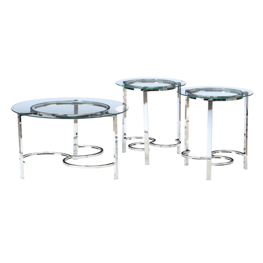 Set of Three Chrome and Glass Coffee and End Tables, Late 20th Century