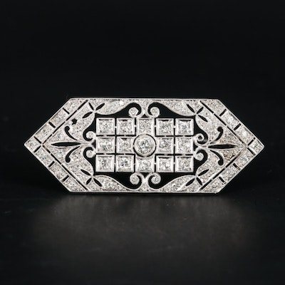 Art Deco Platinum 2.01 CTW Diamond Brooch