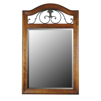 Wood and Wrought Iron Wall Mirror
