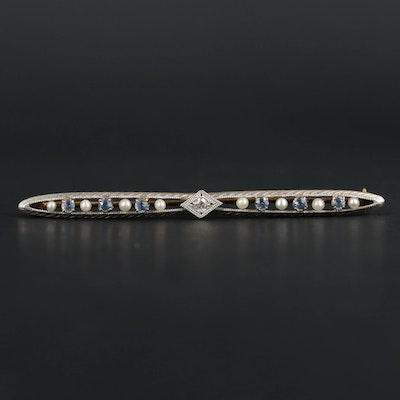 Antique Platinum and 14K Yellow Gold Diamond, Sapphire and Cultured Pearl Brooch