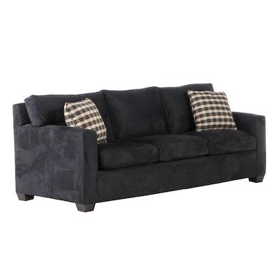 Contemporary Black Microfiber Sofa