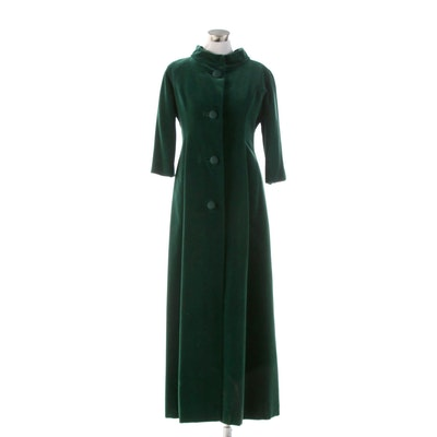 Matlin Forest Green Velvet Evening Coat with Corded Buttons, 1960s Vintage