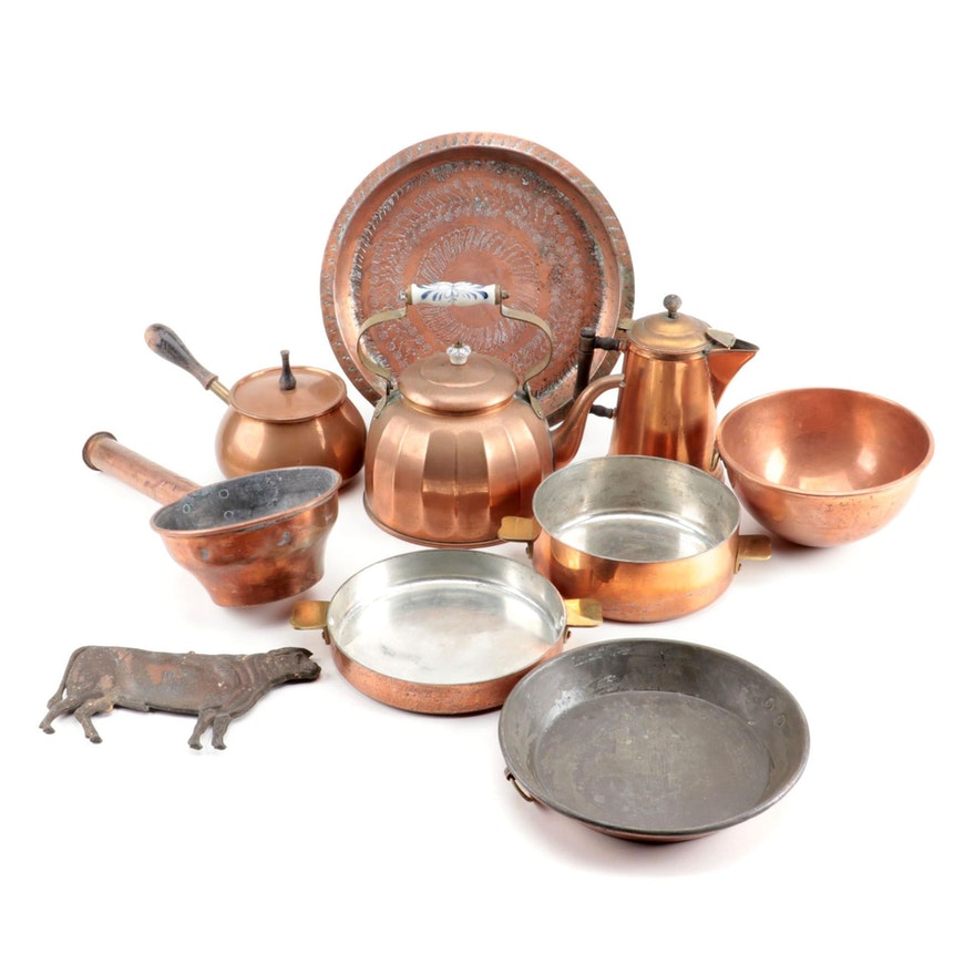 Portuguese Copper Kettle with Other European Copper Cookware