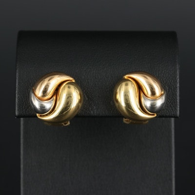 18K Yellow and White Gold Signed Earrings