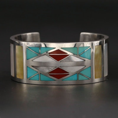 Robert Vandover Navajo Diné Sterling Coral, Mother of Pearl and Turquoise Cuff