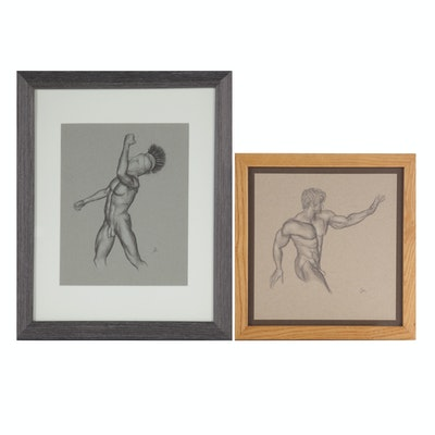 Andrew Moreno Mixed Media Drawings of Male Figures