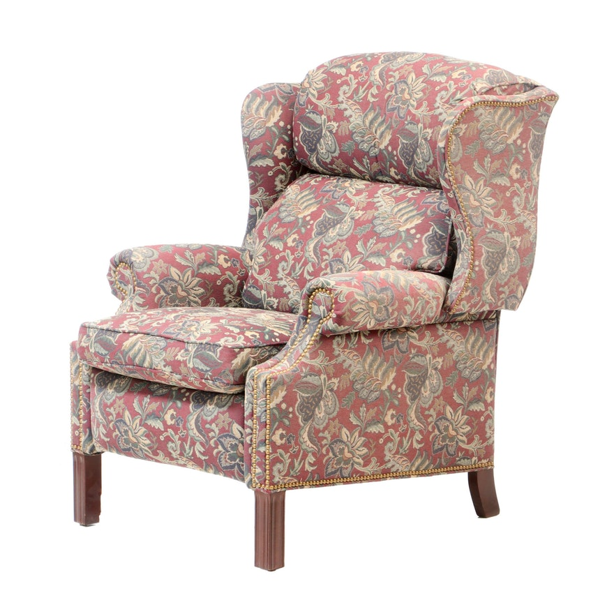 Hancock & Moore, George III Style Floral-Upholstered Wingback Reclining Armchair