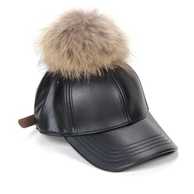 Furtalk Black Leather Ball Cap with Removable Fox Fur Pompom