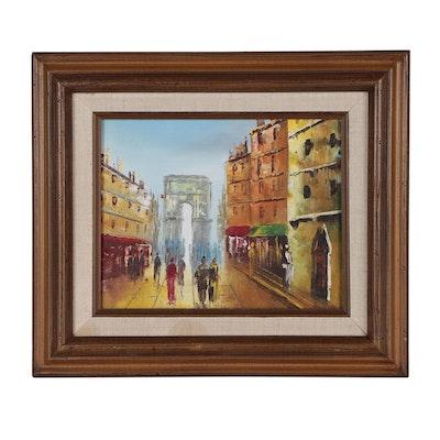 Parisian Street Scene Oil Painting