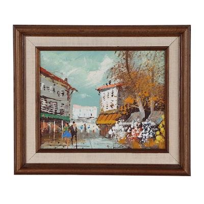 Street Scene Oil Painting, 20th Century