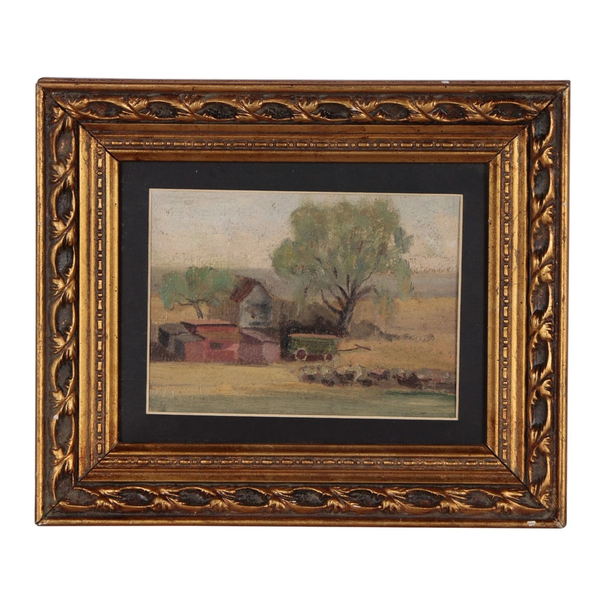 Farm Landscape Oil Painting, Early to Mid 20th Century
