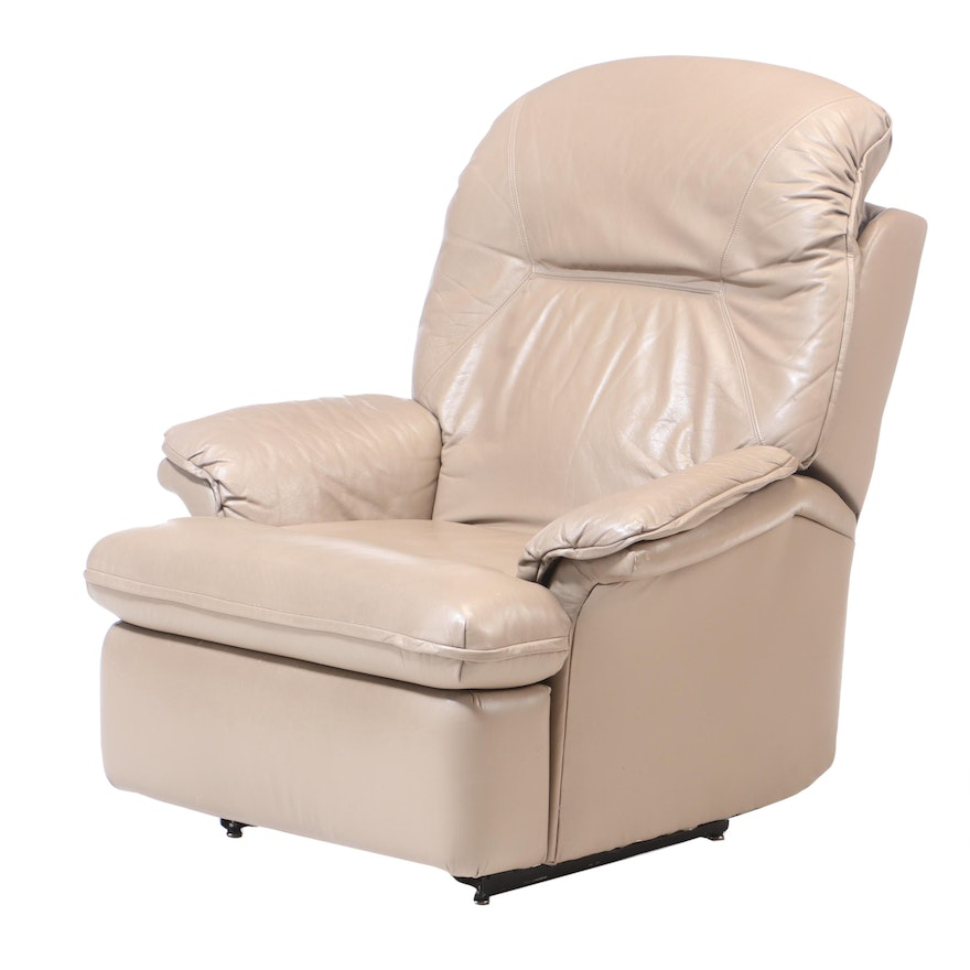 Taupe Leather Reclining Armchair, Late 20th Century