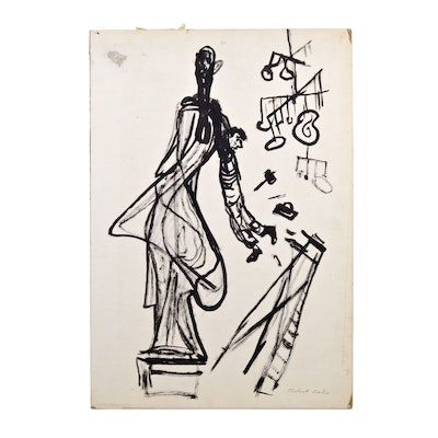 Robert Fabe Abstract Ink Drawing, Late 20th Century