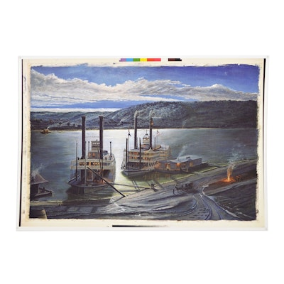 "Offset Lithograph after Steve Sparks ""Cincinnati"", Late 20th Century"