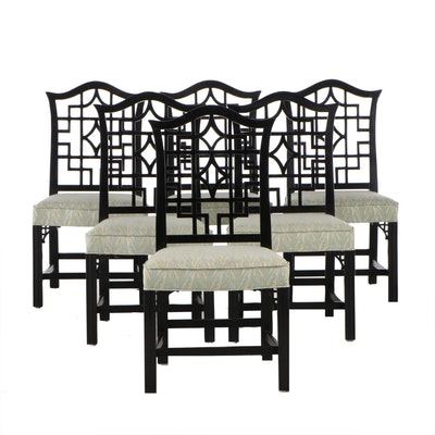 "Set of Six George III Style ""Chinese Chippendale"" Ebonized Dining Side Chairs"
