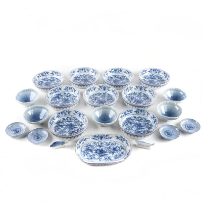East Asian Blue and White Porcelain Dinnerware Pieces