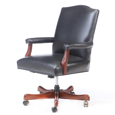 Fairfield Chair Co., Cherry-Stained and Black Leather Swivel Office Armchair