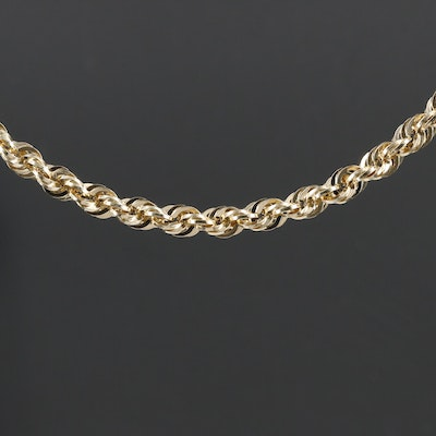 French 14K Rope Chain Necklace