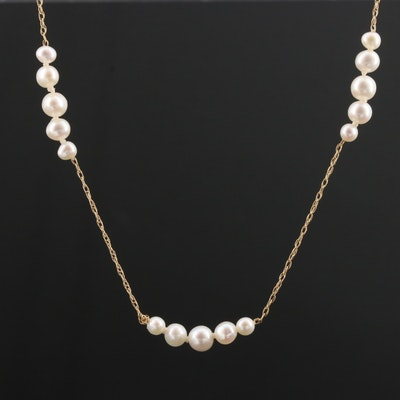 14K Yellow Gold Cultured Pearl Chain with Graduated Stations on Rope Chain