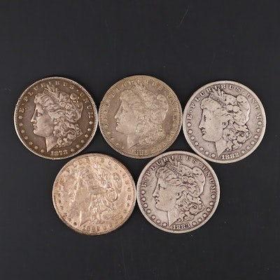 Five Silver Morgan Dollars Including 1878-S, 1881-O, 1882, 1882-S, and 1883