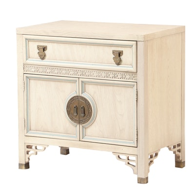"Dixie Furniture, ""Shangri-La"" White-Washed and Blue-Trimmed Bedside Cabinet"