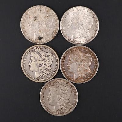 Five Silver Morgan Dollars Including 1884, 1885, 1896, 1896-O, and 1898-O