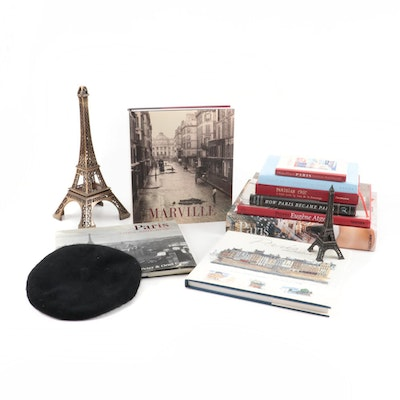 "Books on Paris Including ""Paris: Portrait of a City"", Eiffel Towers, and Beret"