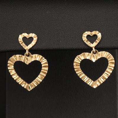 14K Yellow Gold Heart Textured Drop Earrings