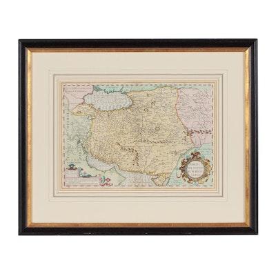 Mercator/Hondius Hand-Colored Map Engraving, 17th Century