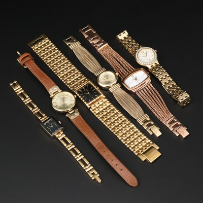 Assorted Seiko and Anne Klein Gold Tone Quartz Wristwatches
