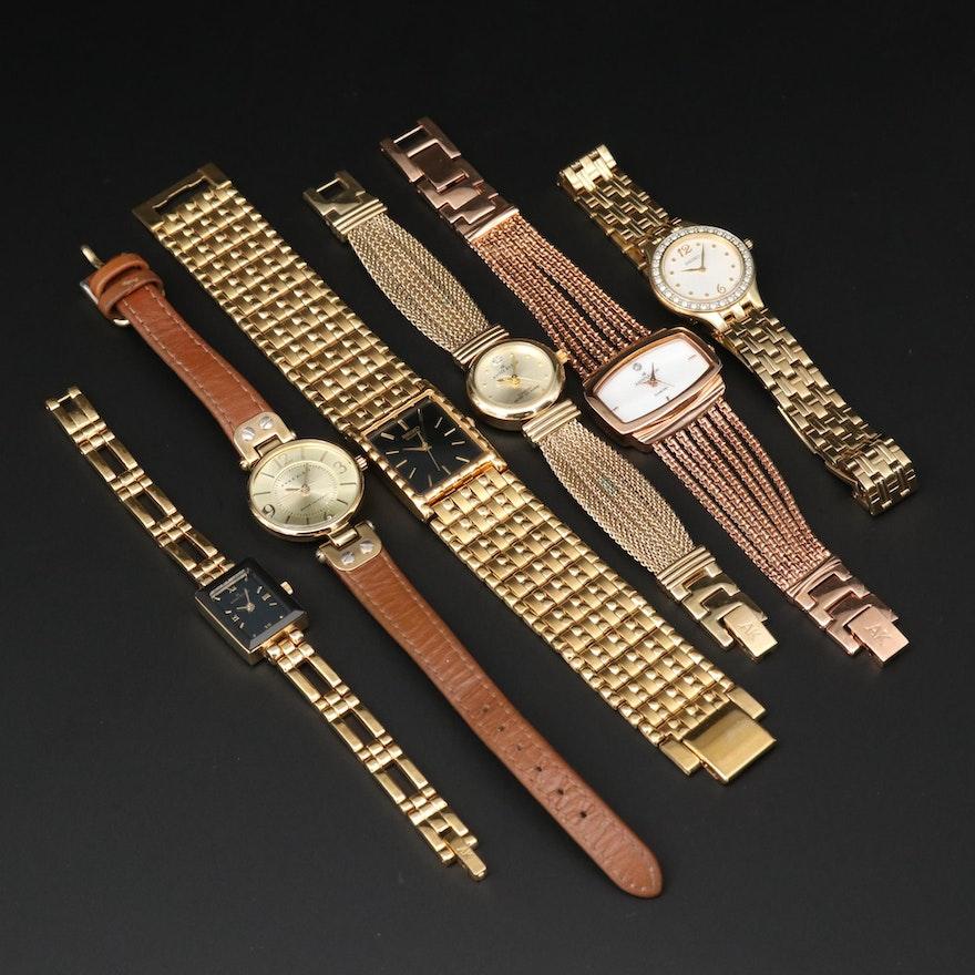 Assorted Seiko and Anne Klein Gold Tone Quartz Wristwatches