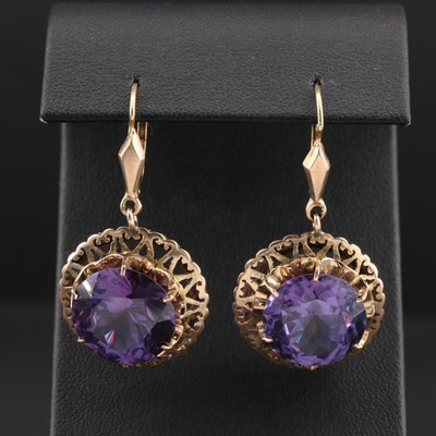Vintage Color Changing Sapphire Dangle Earrings