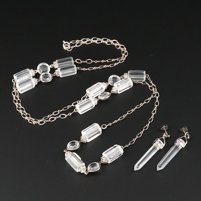 Sterling Silver Quartz, Cubic Zirconia and Faceted Glass Necklace and Earrings