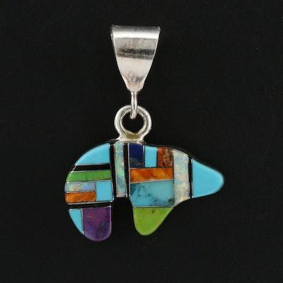 Southwestern Sterling Silver Fetish Bear Pendant with Gemstone Inlay