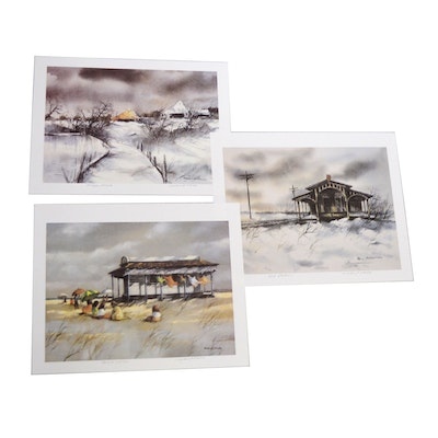 "Robert Fabe Offset Lithographs Including ""Frozen Pond"""