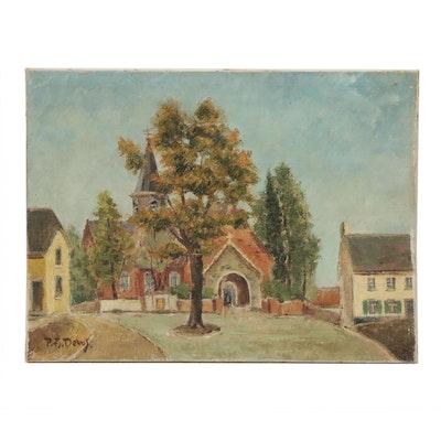 P.F. Devos Oil Painting of Church