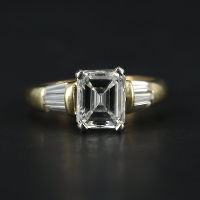 14K Yellow Gold 2.41 CTW Diamond Ring with Platinum Accent