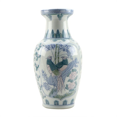 East Asian Style Hand-Painted Porcelain Vase with Bird and Floral Motif
