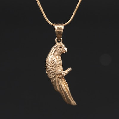 14K Yellow Gold Parrot Pendant Necklace