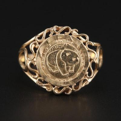 10K Yellow Gold Ring With Replica Chinese 1/20th Oz. 5-Yuan Panda Coin