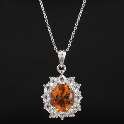 Sterling Silver Citrine and Topaz Pendant Necklace