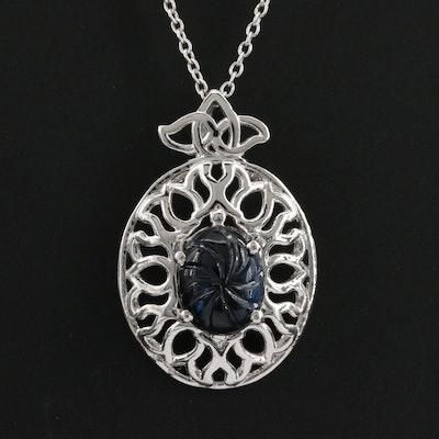 Sterling Silver Blue Sapphire Pendant Necklace