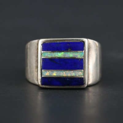 Southwestern Signed Sterling Silver Lapis Lazuli and Opal Inlay Ring