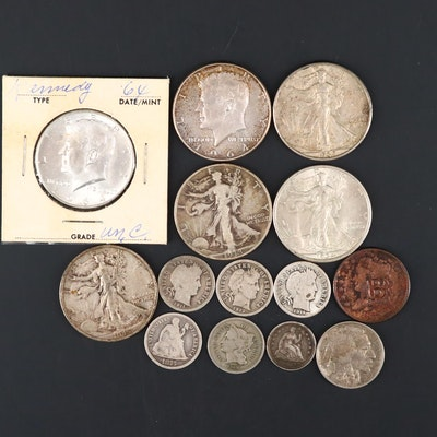 Assortment of Antique to Vintage U.S. Coins, Mainly Silver